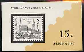 Booklet - Czech Republic 1993 Cesky Krumlov 15kc booklet (Stamp on cover) complete and fine containing pane of 5 x Mi 14