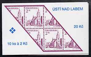 Booklet - Czech Republic 1993 Usti Nad Labem 20kc booklet (Stamp on cover) complete and fine containing pane of 10 x Mi 13