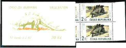 Booklet - Czech Republic 1994 Prehistoric Animals 20kc booklet complete and fine containing pane of 10 x Mi 41