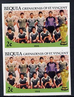 St Vincent - Bequia 1986 World Cup Football 2c (Iraqi Team) unmounted mint imperf pair