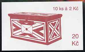 Booklet - Czech Republic 1993 Usti Nad Labem 20kc booklet (Postbox on cover) complete and fine containing pane of 10 x Mi 13