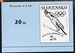 Booklet - Slovakia 1994 Lillehammer Winter Olympic Games 20k booklet (Ski Jumping pane of 10 x 2k) complete and fine SG SB3