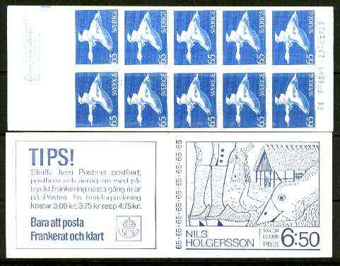 Booklet - Sweden 1971 Nils Holgersson on Goose 6k50 booklet (Windmill on cover) complete and pristine, SG SB266