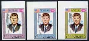 Yemen - Royalist 1968 Human Rights Year the three imperf values showing J F Kennedy unmounted mint (Mi 541, 545 & 549B)*