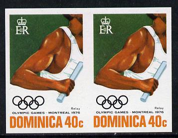 Dominica 1976 Olympic Games 40c (Relay) imperf pair unmounted mint, as SG 518