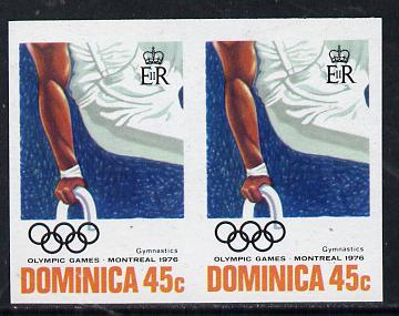 Dominica 1976 Olympic Games 45c (Gymnastics) imperf pair unmounted mint, as SG 519