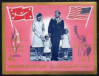 Yemen - Royalist 1965 J F Kennedy Commemoration imperf m/sheet unmounted mint, Mi BL 16