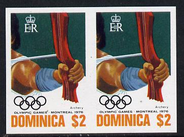 Dominica 1976 Olympic Games $2 (Archery) imperf pair unmounted mint, as SG 521