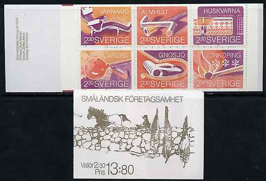 Booklet - Sweden 1989 Industries of Sm\8Clandsk Towns 13k80 booklet complete and very fine, SG SB418