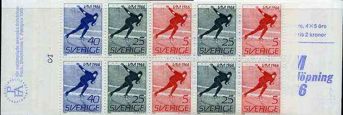 Booklet - Sweden 1966 Men's Speed Skating Championships 2k booklet complete and very fine, SG SB187
