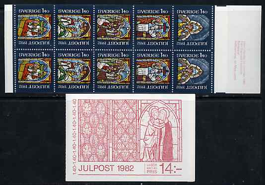 Booklet - Sweden 1982 Christmas 14k booklet (Stained Glass Windows) complete and very fine, SG SB361
