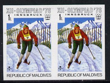 Maldive Islands 1976 Winter Olympics 1l (Cross Country Skiing) unmounted mint imperf pair (as SG 624)