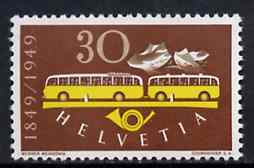 Switzerland 1949 Centenary of Federal Post 30c (Postal Bus) unmounted mint, SG 502*