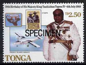 Tonga 1988 King's 70th Birthday $2.50 opt'd SPECIMEN (showing Map, Scout Stamp & Aircraft) as SG 988 unmounted mint