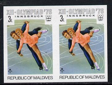 Maldive Islands 1976 Winter Olympics 3l (Pairs Ice Skating) unmounted mint imperf pair (as SG 626)