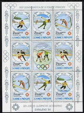 St Thomas & Prince Islands 1983 Olympic Games sheetlet containing 2 each of Downhill Skiing, Ski Jump, Speed Skating & Figure Skating plus label showing Ice Hockey, Mi 869-72 unmounted mint