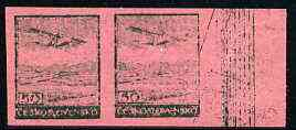 Czechoslovakia 1930 Fokker F.IXD 50h imperf pair in green on pink ungummed proof paper with very faint impression, as SG 309