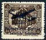 Ecuador 1930s Servicio Interno opt on 30c brown unissued Official stamp without gum with ! instead of full stop after Patria with superb set-off on reverse
