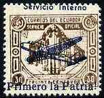 Ecuador 1930s Servicio Interno opt on 30c brown unissued Official stamp without gum with ! instead of full stop after Patria plus opt misplaced and AEREO omitted