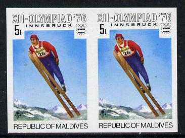 Maldive Islands 1976 Winter Olympics 5l (Ski Jumping) unmounted mint imperf pair (as SG 628)