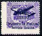 Ecuador 1930s Servicio Interno opt on 30c violet unissued Official stamp without gum with ! instead of full stop after Patria with misplaced perfs