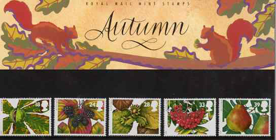 Great Britain 1993 The Four Seasons - Autumn Fruits set of 5 in official presentation pack SG 1779-83