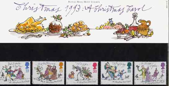 Great Britain 1993 Christmas - A Christmas Carol by Charles Dickens set of 5 in official presentation pack SG 1790-94
