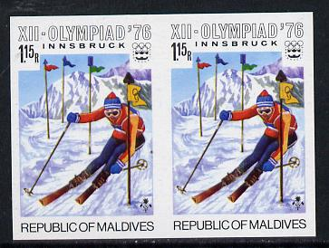 Maldive Islands 1976 Winter Olympics 1r15 (Slalom Skiing) unmounted mint imperf pair (as SG 630)