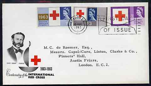 Great Britain 1963 Red Cross phosphor set of 3 on illustrated cover with special first day machine cancel SG 642p-44p (type-written address)