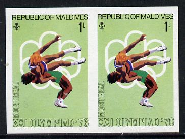 Maldive Islands 1976 Montreal Olympics 1l (Wrestling) unmounted mint imperf pair (as SG 654)