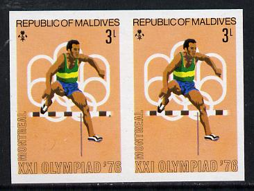 Maldive Islands 1976 Montreal Olympics 3l (Hurdling) unmounted mint imperf pair (as SG 656)