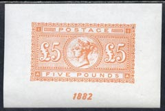Great Britain 1882 QV �5 orange fine facsimile imperf on gummed paper (as SG 133/137) unmounted mint