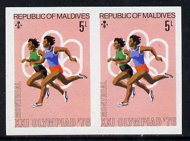 Maldive Islands 1976 Montreal Olympics 5l (Running) unmounted mint imperf pair (as SG 658)