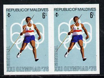 Maldive Islands 1976 Montreal Olympics 6l (Javelin) unmounted mint imperf pair (as SG 659)
