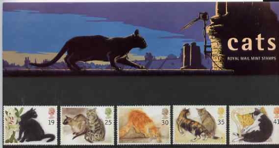 Great Britain 1995 Cats set of 5 in official presentation pack SG 1848-52