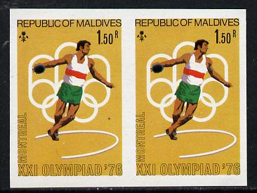 Maldive Islands 1976 Montreal Olympics 1r50 (Discus) unmounted mint imperf pair (as SG 660)