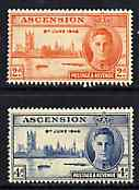 Ascension 1946 KG6 Victory Commemoration set of 2 unmounted mint light overall toning, SG 48-49*