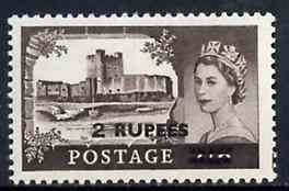 British Postal Agencies in Eastern Arabia 1955 Great Britain Carrickfergus Castles 2r on 2s6d type I unmounted mint, SG 56