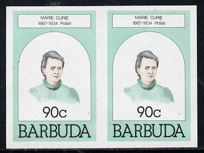 Barbuda 1981 Marie Curie 90c unmounted mint imperforate pair (as SG 547)