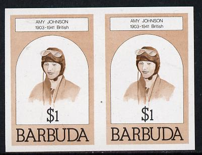 Barbuda 1981 Amy Johnson $1 unmounted mint imperforate pair (as SG 548)
