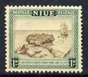 Niue 1950 HMS Resolution 1d brown & blue-green from def set, unmounted mint SG 114*