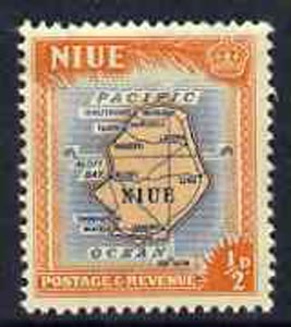 Niue 1950 Map of Niue 1/2d orange & blue from def set, unmounted mint SG 113*