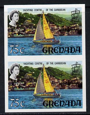 Grenada 1968-71 Yachting 75c unmounted mint imperf pair (as SG 317a)