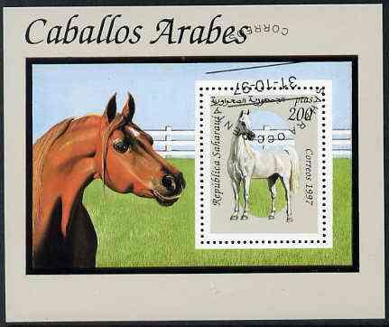 Sahara Republic 1997 Horses perf miniature sheet cto used