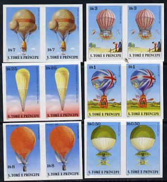 St Thomas & Prince Islands 1980 Balloons complete set of 6 imperf proof pairs in issued colours on ungummed paper