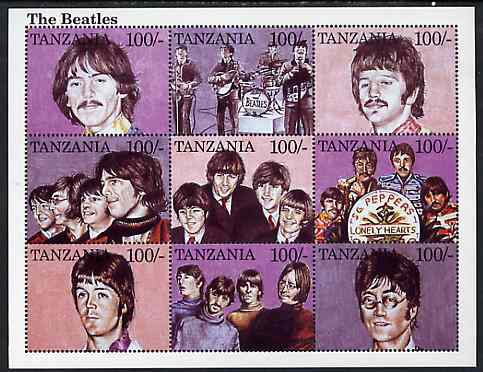 Tanzania 1995 The Beatles perf sheetlet containing 9 x 100s values unmounted mint