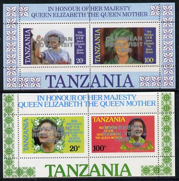 Tanzania 1985 Life & Times of HM Queen Mother perf proof set of 2 m/sheets each with 'Caribbean Royal Visit 1985' opt in silver (unissued) unmounted mint