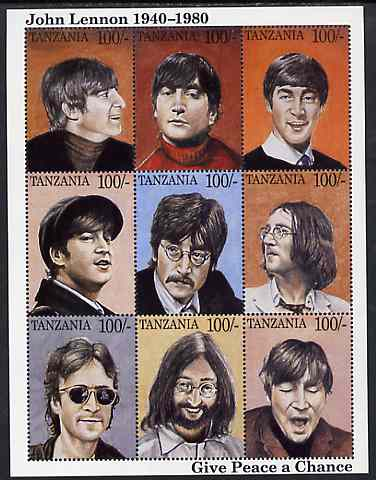 Tanzania 1995 John Lennon perf sheetlet containing 9 x 100s values unmounted mint