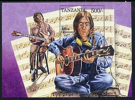 Tanzania 1995 John Lennon perf miniature sheet containing 500s value unmounted mint
