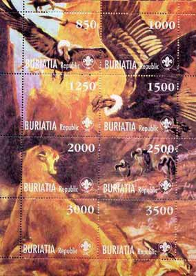 Buriatia Republic 1998 Animals & Birds composite sheetlet containing complete set of 8 values each with Scout Logo, unmounted mint